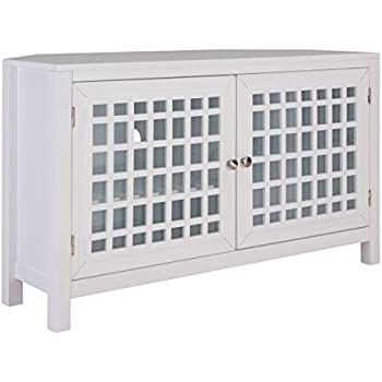 Amazon Com Furniture Hotspot Small Corner Tv Stand White Up To