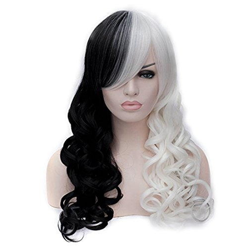 White Wig Costume Ideas (Alacos Fashion Long Curly Two Tone Black Ombre White Gothic Lolita Synthetic Heat Resistant Wig for Women Anime Cosplay Halloween Christmas +Wig Cap)