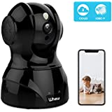 1080P WiFi Camera, Whew Wireless Security Home Camera Baby Monitor Pet Camera with Night Vision, 2-Way Audio, Motion Detection, Cloud Storage, Work with Alexa, Black