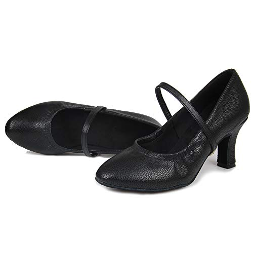 7cm Performance HIPPOSEUS Modern Toes UKQU5003 Black Shoes Shoes Dance Leather Model Ballroom Closed Women's fwqgO
