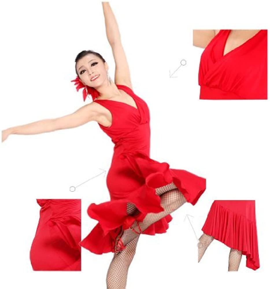 ac6f55f57da08 Fashion Sleeveless V-Neck Latin Dance Dress Rumba Skirt One Piece Stage  Costume