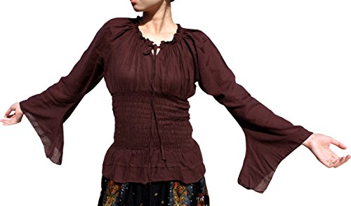 Svenine Travelling Gypsy Dancing Troupe Shirt In Plain Light Cotton Long Sleeve, XX-Large, bistre Brown (Cotton Thai Craft)