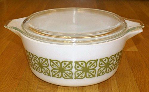 Vtg Pyrex Square Flower Verde Green (475-B) Casserole Baking Dish (2.5 Qt) & ()