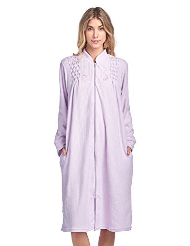 (Casual Nights Women's Zipper Front Jacquard Terry Fleece Robe Duster - Purple - XX-Large)
