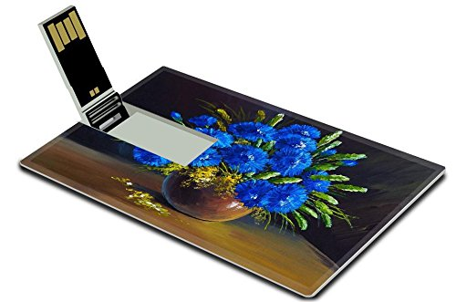Luxlady 32GB USB Flash Drive 2.0 Memory Stick Credit Card Size oil painting still life a bouquet of flowers wildflowers IMAGE - Wildflower Ironman