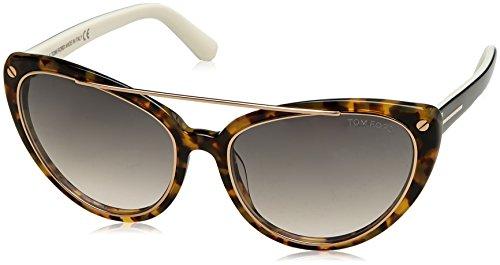 Tom Ford Edita Sunglasses FT0384 56B, Tortoise and Gold Frame, Grey Gradient Lens, - Sunglasses Ford Tortoise Tom