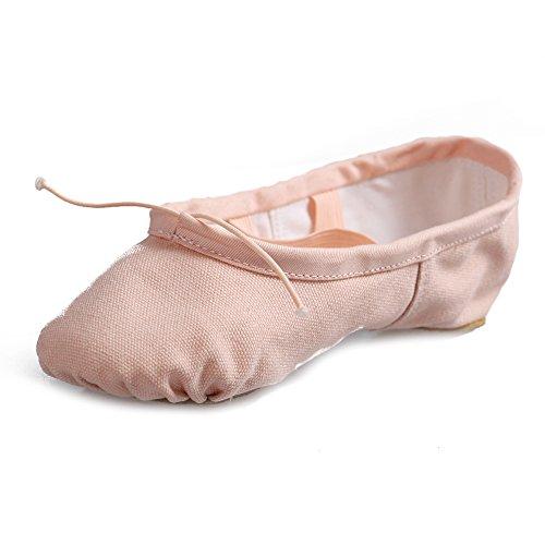 Jinfengkai Ballettschuhe / Ballett schläppchen aus Leinen Pink