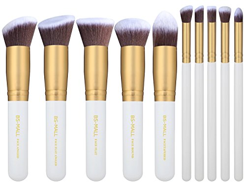 BS-MALL(TM) Premium Synthetic Kabuki Makeup Brush Set Cosmetics Foundation Blending Blush Eyeliner Face Powder Brush Makeup Brush Kit (Golden (White Face Makeup Powder)