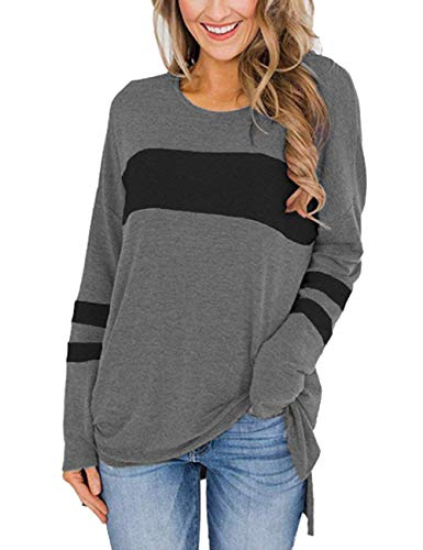 Ido4U Women's Color Block Long Sleeve Shirt Round Neck Pullover Side Split High Low Tunic Tops (Grey, S)