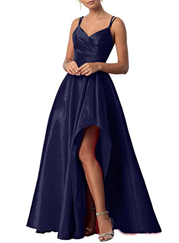 A-line Spaghetti Strap Evening Gown (Now and Forever Women's V-Neck A-Line Evening Gowns Sex High Split Long Prom Dresses (Navy Blue,4))