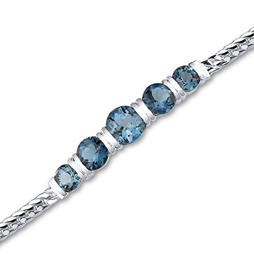 London Blue Topaz Bracelet Sterling Silver 5.00 Carats 5 Stone Design by Peora