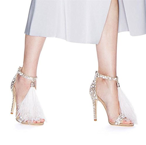 Open Color Size Toe Women's PU Comfort 43 Almond Fall for Tassel Spring amp; Rhinestone Zipper Wedding Heel Party Evening Stiletto Sandals A Shoes 1qH814