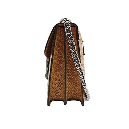 RONDA Bolsa italiana Clutch Baguette bandolera con la correa de cadena en níquel oscuro, cuero liso y solapa de gamuza Reptil hellbraun