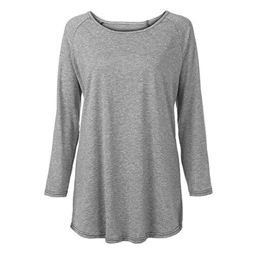 Plus Tops Col Couleur Roud Chemisier Femme Gris Blouse Manches Size Longues Bringbring Shirt T Longues Unie qxUTUPEY