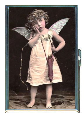 Cupid Antique (Antique Cupid Sweet Girl Photo ID Holder, Cigarette Case or Wallet: MADE IN USA!)