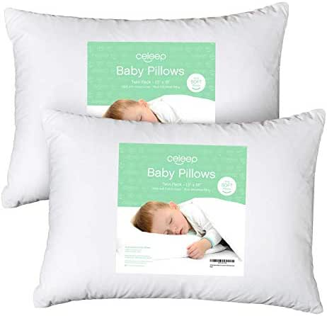 [2-Pack] Celeep Baby Toddler Pillow Set - 13 x 18 Inches Toddler Bedding Small Pillow - Baby Pillow with 100% Cotton Cover