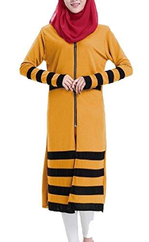 Yellow Abaya Muslim Islamic Long Jaycargogo Zipper Women Sleeve Striped s Dress wq8aqZv6nU