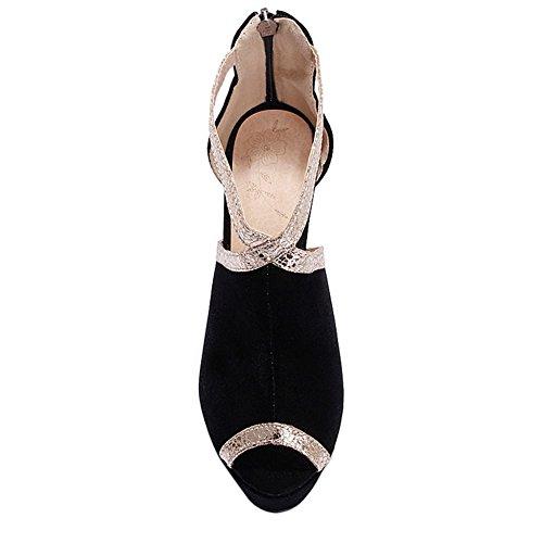 Black Mujer Cremallera Elegante Sandls Coolcept Stiletto O4Zqf7
