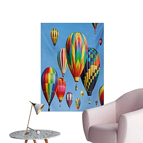 Anzhutwelve Colorful Photographic Wallpaper Nostalgic Hot Air Balloons in Sky Flying Journey Fun Adventure Traditional Hobby ThemeBlue W32 xL48 The Office Poster ()
