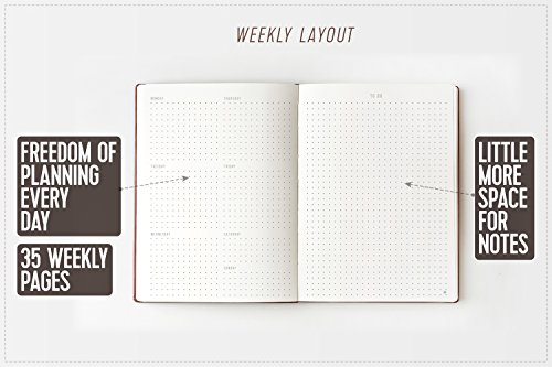 Weekly Planner Organizer Will Help You to Keep Work-Life Balance & Achieve a Little More Goals - NO DATES Calendar Planner A5 Size (8 X 6) - Dotted Notebook for Man and Women 2017 / 2018 / 2019 Photo #4