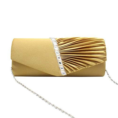 da a con strass e Borsa tracolla forma busta con donna Oro di borsa da sposa busta da a sera tracolla ZZzTaOnq