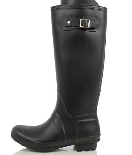 Bamboo Womens Padinton 01 Fashion Knee High Buckle Rubber Rain Boot, Black, 8 M US black