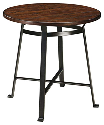 - Ashley Furniture Signature Design - Challiman Dining Room Bar Table - Pub Height - Round - Rustic Brown