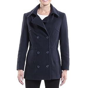 alpine swiss Emma Women's Navy Wool 3/4 Length Double Breasted Peacoat Large