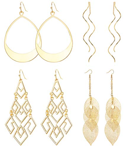 ORAZIO Dangle Earrings for Women Girls Leaf Teardrop Hoop Chandelier Drop Earrings ()