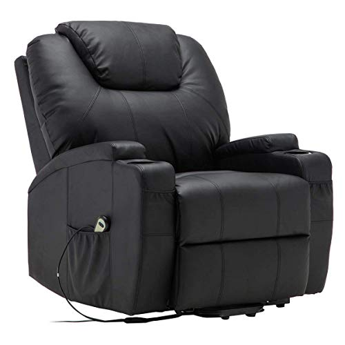 Dawndior Downdior Full Body Electric Recliner Ergonomic 360 Degree Swivel Leather Massage Sofa Chair for Home Office with Remote Control, 5 Heat & Massage Modes, Side Pockets, Cup Holde, Black (Chair Massage Lounger Body Full)