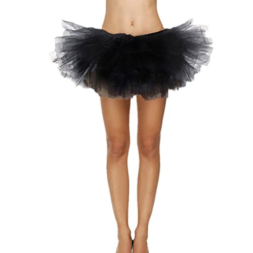 Adult Tutu Dress (DreamHigh Sexy Adult Womens Classic 5 Layered Tulle Fancy Ballet Dress Tutu Skirts Black)
