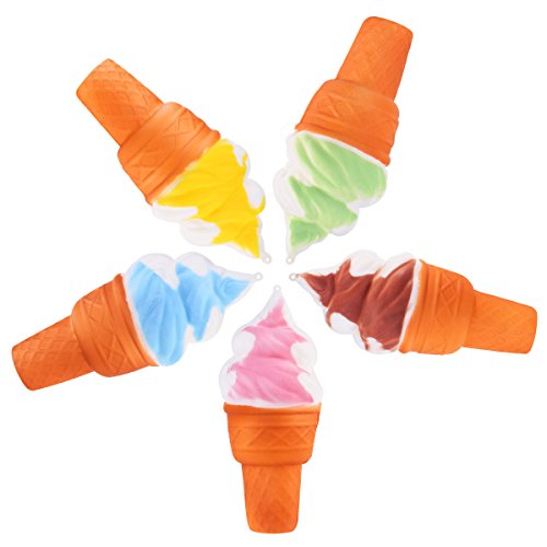 ROSENICE Jumbo Ice Cream Toy Slow Rising Charm Straps Pendant Stress Relief, 5pcs