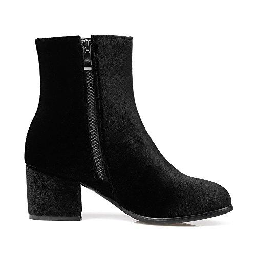 Solid Unterhose Round Kitten Schwarz Boots AgooLar Heels Toe Zipper Damen Aq7YZXwS