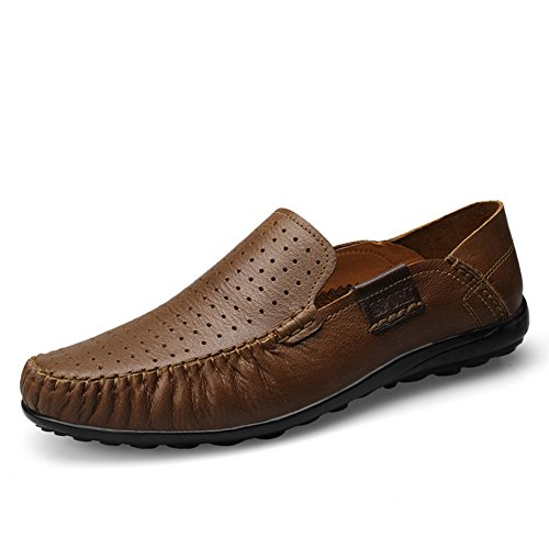 Loafers 9953 Quality Shoes Summer Genuine Air Breathable Hole Brown Leather Mens Top Driving rismart US10 wqxFAB