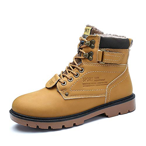 Super frist Mens Waterproof Ankle Boots Insulated Warm Comfortable Durable Outdoor Ski Winter Snow Boots(Yellow Fur 43/10 D(M))
