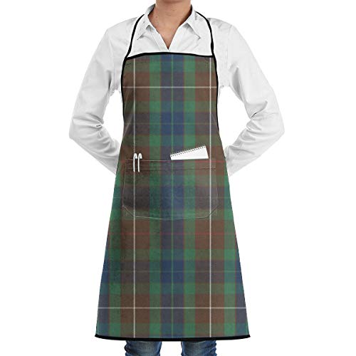 - Fraser Modern Hunting Tartan Adjustable Kitchen Chef Apron with Pocket and Extra Long Ties,Commercial Men & Women Bib Apron for Cooking,Baking,Gardening