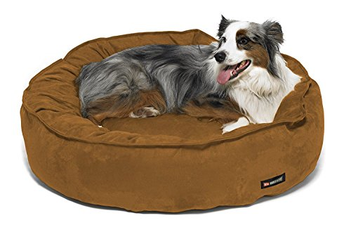 Big Shrimpy Nest Faux Suede Dog Bed, Medium, Saddle - Water Resistant Nylon Recycled Smartfill - Machine Washable Dog Bed with 100% Recycled Polyester Fiber Filling, For Medium Dogs or Cats