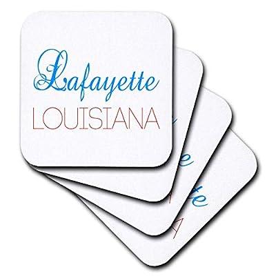 3dRose Alexis Design - American Cities Kentucky-Nebraska - Lafayette, Louisiana blue, red text. Patriotic home town design - Coasters