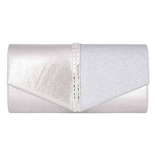 Womens Bag Adoptfade Long Classic Clutch Evening Crossbody Retro Silver Bag PU Envelope dttF4w