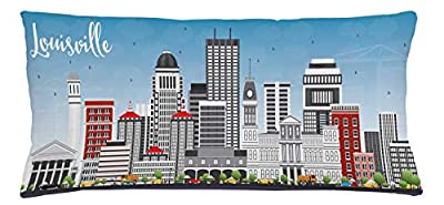 Lunarable Kentucky Throw Pillow Cushion Cover, Southern State in Cartoon Design Cars and Buildings Architecture Travel Theme, Decorative Square Accent Pillow Case, 36 X 16 Inches, Multicolor