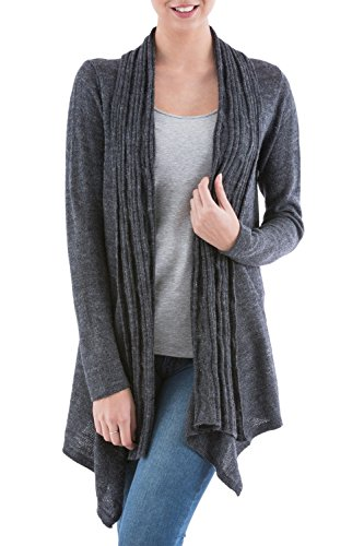 NOVICA Grey Alpaca Wool Blend Long Sleeves Cardigan Sweater, Waterfall (Alpaca Wool Sweater)