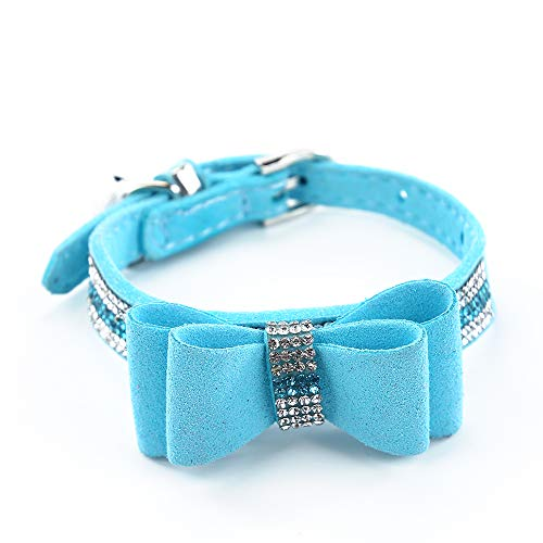 SuperBuddy Rhinestone Leather Cat & Dog Collar with Bow Tie - Sparkly Crystal Diamonds Studded for Small Medium Large Dogs ()