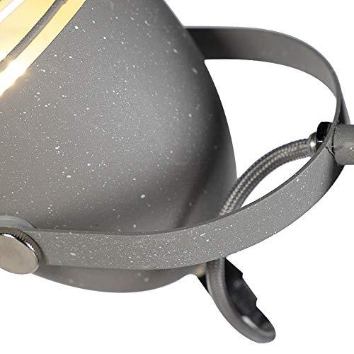 Rebus Acero Alargada//Redonda Adecuado para LED Max 2 x Watt QAZQA Industrial L/ámpara de pie ajustable industrial gris hormig/ón aspecto 2-luz