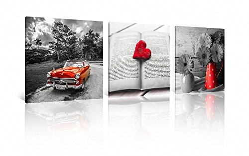 NAN Wind 3 Pcs Modern Giclee Canvas Prints Red Car Black and White Wall Art Heart on Book Wall Decor Paintings on Canvas Stretched and Framed Ready to Hang for Home Decor