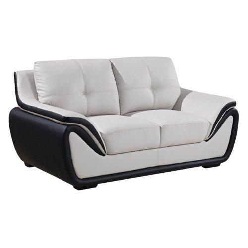 Global Furniture Bonded Leather Matching Loveseat, Grey/Black