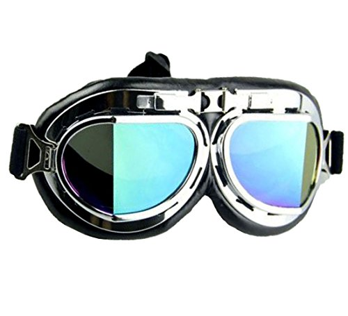 WWII Vintage Goggles, Aviator Pilot Style Motorcycle Cruiser Scooter Goggle, Bike Racer Touring Half Helmet Goggles, Cool MTB Bicycle Summer Winter Snowboard Windproof - Snow Goggles Brands