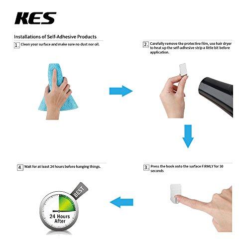Kes Self Adhesive Hooks Rail Stainless Steel 3-Hook Rack Bath Towel Hook Sticky Bathroom Kitchen Towel Multi Hanger Matte Black, A7060H3-BK by Kes (Image #5)
