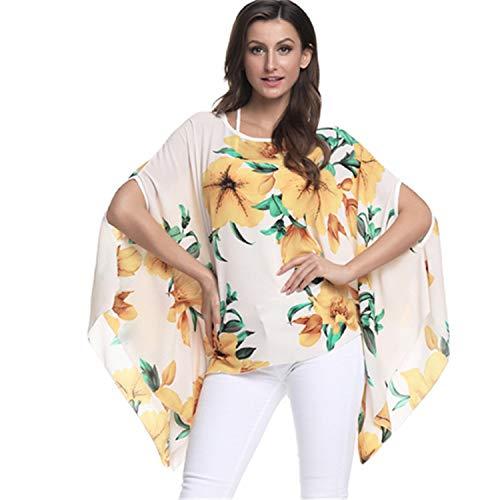 Boho Style Batwing Chiffon Summer Dress Mini Casual Beach Dresses Vestidos Picture color6 6XL