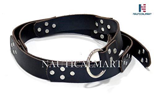 NAUTICALMART Medieval Genuine Black Leather Belt with Steel