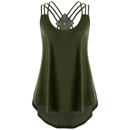 GOVOW Women's Women's Bandages Sleeveless Vest Top High Low Blouse Shirt Notes Strappy Tank Tops Army Green